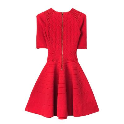 knit flare dress red